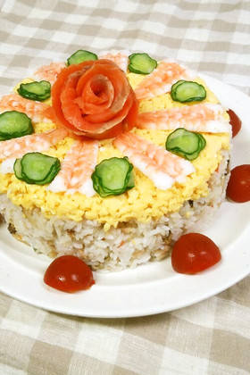 お祝いに♪ちらし寿司ケーキ by ふうさく77 [クックパッド] 簡単おいしいみんなのレシピが259万品 (3149)