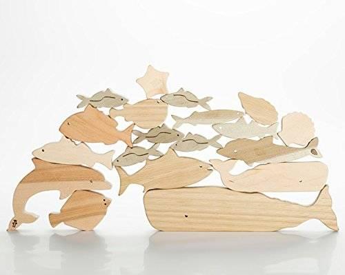 Amazon | Oak Village 海のいきものつみき | 木のおもちゃ・積み木 通販 (3375)