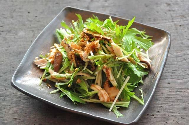 水菜と鶏ささみの和風サラダのレシピ/作り方:白ごはん.com (4144)