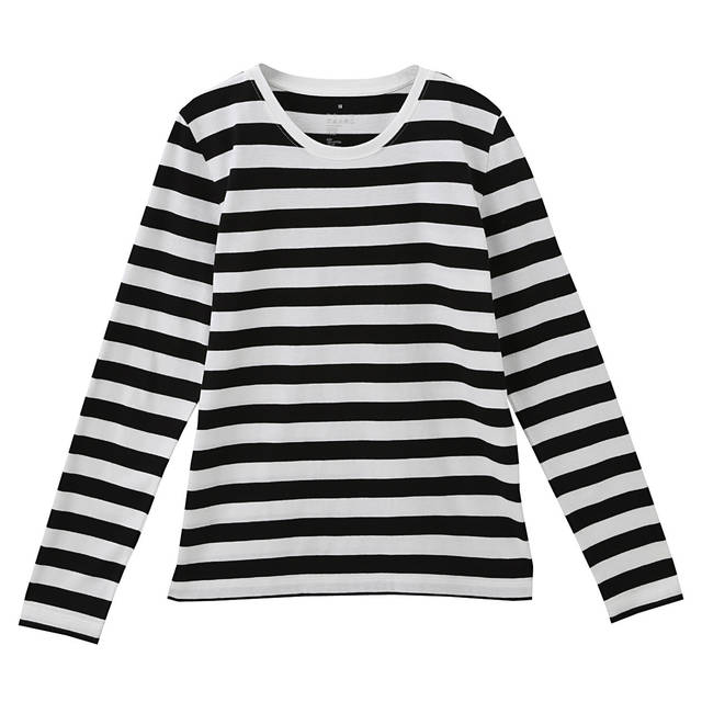 オーガニックコットンクルーネック長袖Tシャツ(ボーダー) 婦人L・白×黒 | 無印良品ネットストア (4425)