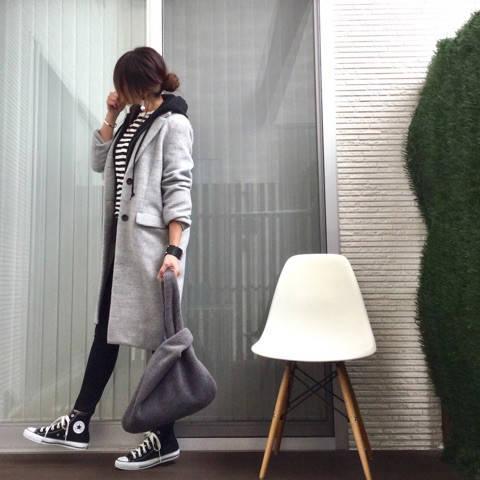 上下ユニクロ部✕無印ボーダー、モノトーンコーデ♡|miyu blog♡ (4433