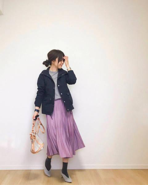 マウンテンパーカー×カラースカート。|35歳ママのプチプラを品良く着こなしたいファッションブログ (11588)
