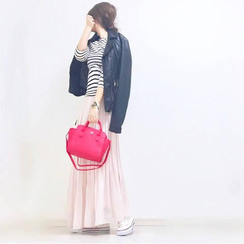 UNIQLO☆新作プリーツスカートと雑誌付録でSAKURAピンクコーデ♪ α closet アラフォースタイルアップを目指す☆プチプラmixコーデ (12408)