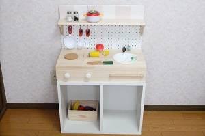 ずっと使える!カラーボックスで作る【ままごとキッチン】...