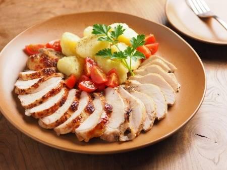 鶏むね肉のアンチョビロースト、粉ふき芋添え|魚料理と簡単レシピ (25118)