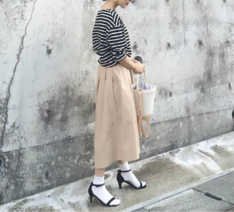 GUのスカートで春コーデ。|156㎝プチサイズのプチプラコーデ。 (25177)