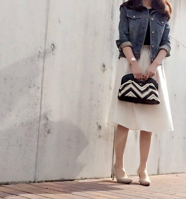 GUホワイトスカートとしまむらリバーシブルTでコーデ Lisa's コーデブログ (25322)
