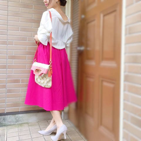 【GU】スキッパーシャツとイージーカラースカートの着回しコーデ♪|150cmおちびさんのほぼGU!プチプラコーデ*+° (25343)