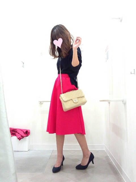 購入品♡GU ビビッドカラーが可愛いフレアスカート★|プチプラでオシャレを楽しむ♡舞子のプチプラコーディネート日記♡~リアルクローズ~~ (25367)