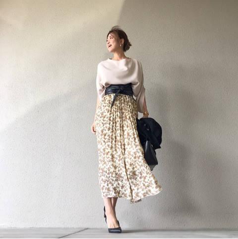 ZARA MENのライダースと390円花柄スカートの甘辛コーデ|☆りころぐ☆ (25875)