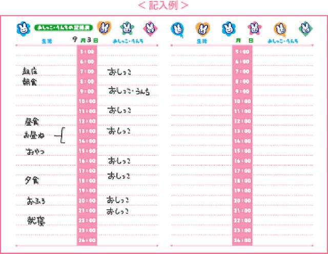 【おしっこ・うんちの記録表】