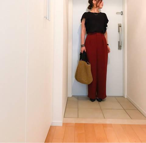 UNIQLOハイウエストリボンワイドパンツの新色でブラック×ブラウンコーデ|Small happiness of aiai    〜大人のプチプラ simple fashion〜 (41834)