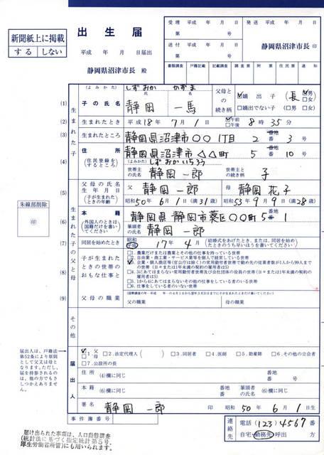 出産届(出生届)出生証明書の書き方サンプル見本で分かる (49164)