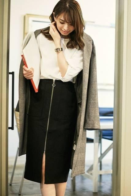ジーユー|ヘリンボーンフロントジップタイトスカート|WOMEN(レディース)|公式オンラインストア(通販サイト) (59099)