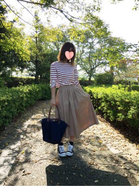 【coordinate】ユニクロハイウエストコットンボリュームスカートでカジュアルコーデ|mi-coのプチプラだけでつくる毎日コーデ❤︎ (62680)