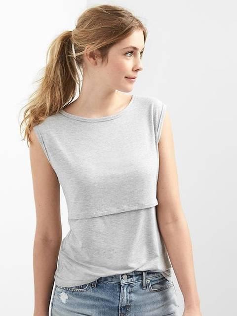 ストライプキャップ授乳Tシャツ