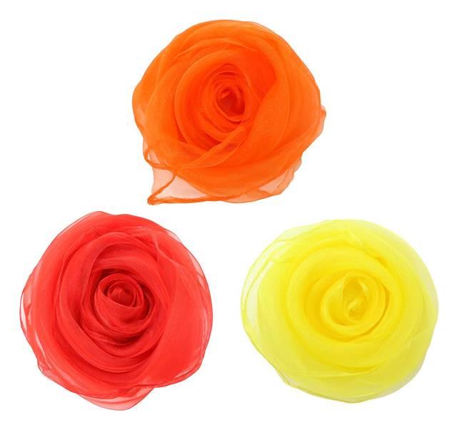 Amazon   ADEA スカーフ シルク 風 シフォン 正方形 四角 リトミック スカーフ遊び ダンス 6色 12枚セット   スカーフ 通販 (68716)