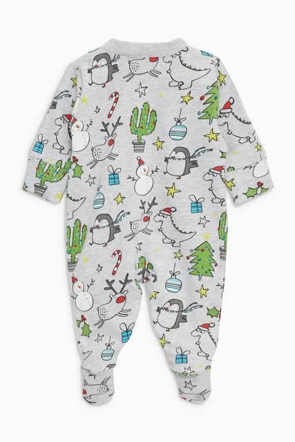 グレー - クリスマス柄 スリープスーツ (0か月~2歳)