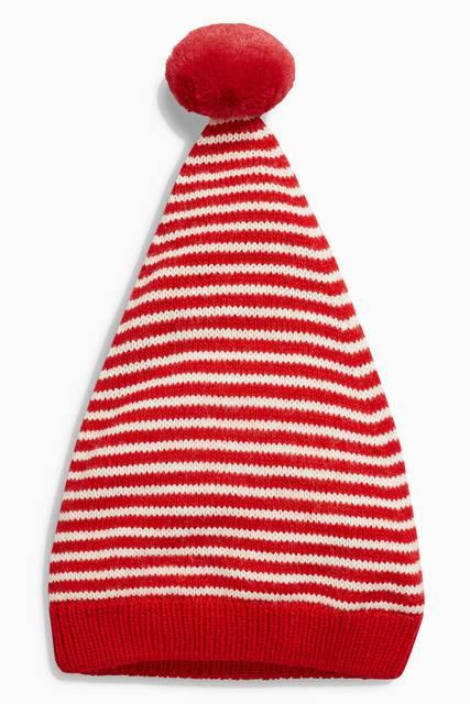 レッド / ホワイト - ストライプ ニット帽 (0か...