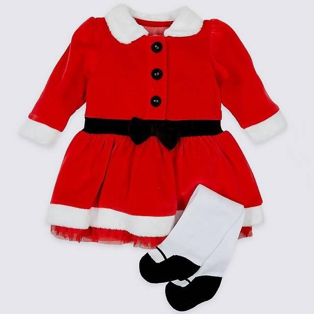 サンタさん2ピースドレス+タイツ