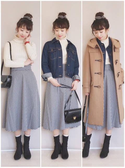GUフレアミディスカート♡アウター2パターン☆|プチプラMIXコーデ♡陽のHappyFashionTalk♫☆ (80519)