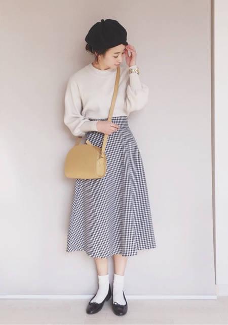 GU春の新作♡フレアミディスカート/ギンガムチェック|プチプラMIXコーデ♡陽のHappyFashionTalk♫☆ (80525)