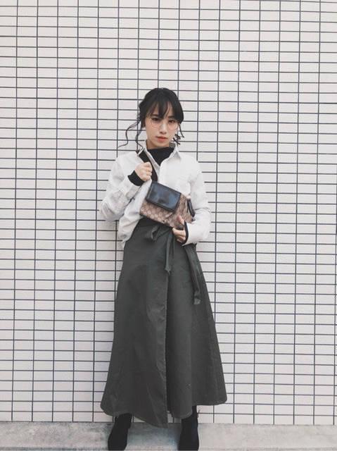 GU チノフレアマキシスカート 着回しコーデ5!|ミニマムなMiki (80604)