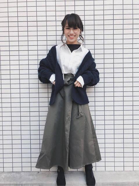 GU チノフレアマキシスカート 着回しコーデ5!|ミニマムなMiki (80605)