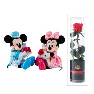 ミッキーマウス(ブーケ)&ミニーマウス(ブーケ)プリザーブドフラワー付き | 祝電 | 電報申込サイトD-MAIL | NTT東日本 (81274)