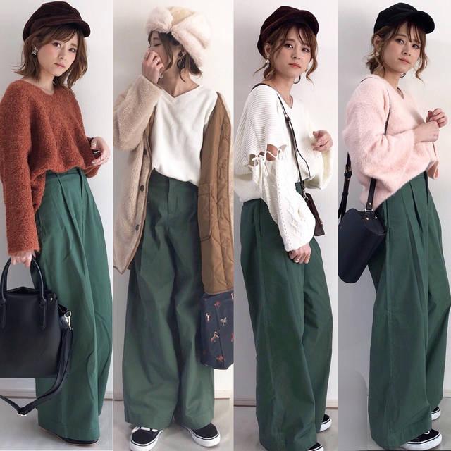 """yun on Instagram: """"今日は @uniqlo さんの #ハイウエストチノワイドパンツ 着回し🎵 ・ ・ sizeは55 丈直し無しで履いてます☺︎ ・ ・ 春商品なので、少し明るめのグリーン☺︎💚 トップスがカラーものでもよく合います💘 ・ ・ ・ 《左から》 トップス➡︎…"""" (83805)"""