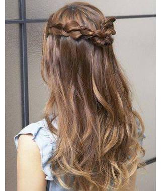 花火大会の髪型【ロング・簡単】可愛い編み込み・2015年 (84343)