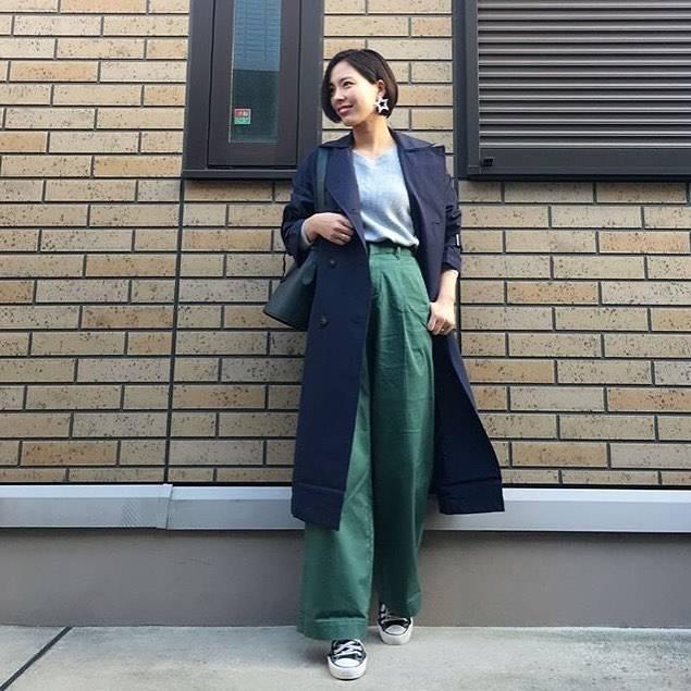 """Roofa(ルーファ) on Instagram: """"* こんばんは☺ YURIさん( @lily112988 )のコーディネートを紹介させていただきます♡ * 今期注目カラー、グリーンのワイドパンツを使った春先取りコーデ✨ このトレンチコート、なんとGUなんです🎶 素敵な着こなしなのでトレンチが高見えしますね💕 * outer…"""" (86193)"""