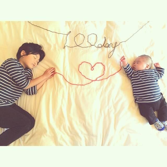 """ai tam on Instagram: """"こんにちは˖*♬೨̣̥ 昨日は息子の100日祝いでした( *´꒳`* )  よく飲みよく寝て すくすく大きくなって、 すでに8㎏超え…( ´罒` ; )  弟の面倒をよくみて可愛がってくれる長女と一緒に これからも元気に成長していってくれますように*(*ˊᵕˋ*)* ੈ✩‧₊˚…"""" (87759)"""