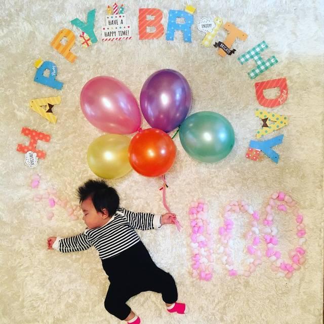 """Arisa Hayashi on Instagram: """"今日はりのちゃんが産まれてちょうど100日でした! 産まれて来てくれてありがとう。 何で泣いてるか分からない事も多いけれど、少しずつ何を訴えてるか分かるようになったよ。 もっともっとあなたの事、分かってあげられるようにママ頑張ります😎💪🏻 #100日記念  #寝相アート…"""" (87760)"""