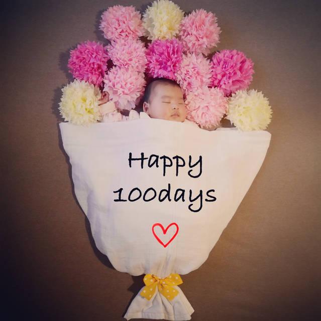 """chika on Instagram: """". 今日でちょーど100日🎊 まるまると大きくなっております👶 100日関係なく花束にしてみました💐 . . #100日 #100日祝い #100日記念日 #100日記念 #100日写真 #100日アート #寝相アート #おひるねアート  #花束 #花束アート #女の子…"""" (87776)"""