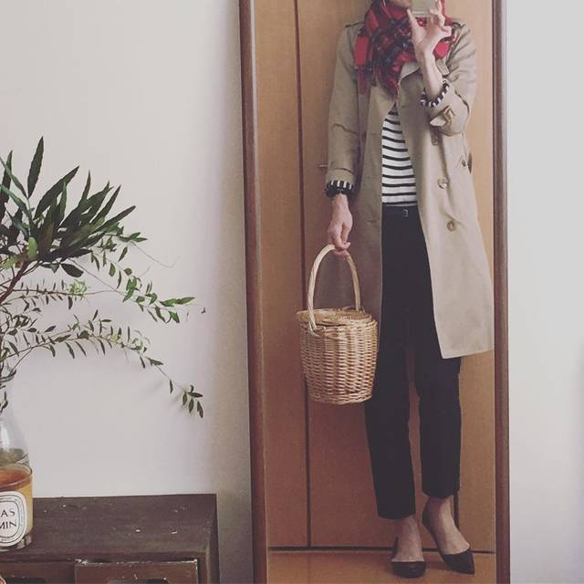 "@canaria_rs on Instagram: ""#本日のコーデ#今日のコーデ#outfit#ootd #ootd_kob #instafashion #fashion #deuxiemeclasse#シンプルコーデ #フレンチシック #ボーダー#無印ボーダー#かごバッグ#チェックマフラー #アラフィフ#アラフィフコーデ"" (88097)"