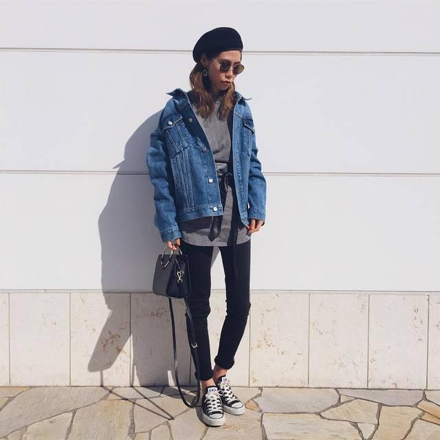 """asammy on Instagram: """"outfit…👻 . 久しぶりにベレー帽かぶった♥︎ 昼間あったかくてコートなし! . .  #wear更新#asammy_code…"""" (88173)"""