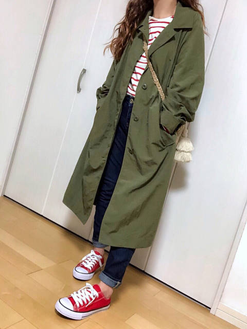 GUステンカラーコートに赤ボーダー♡ | めるものプチプラコーデ +α (88358)