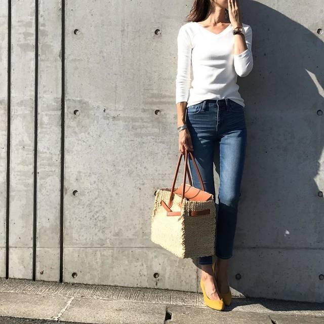 """tomo on Instagram: """"いつかの#コーデ  #上下ユニクロ でした ・ @uniqlo の #リブバレエネックt の七分袖✨ 今年の秋は たくさん 着回しをしたいと思います ・ ・ ・ #上下ユニクロ部  #ユニt族 #ユニクロデニム族 #ユニクロの輪 #code #fashion…"""" (88418)"""