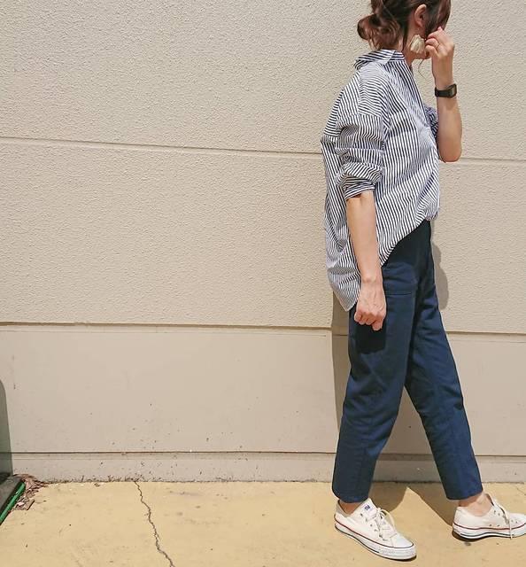 """Yu on Instagram: """"** * #エクストラファインコットンシャツ 👕はネイビーをチョイス❣️ ネイビーのベイカーパンツ合わせで爽やか意識💕 * 今日は昨日より更に暖かくて 午前中は映画、午後からお花見🌸へ💨 満開の桜🌸は本当に綺麗でした😌💕 * 👕#UNIQLO#ユニクロ 👖#ベイカーパンツ…"""" (88498)"""