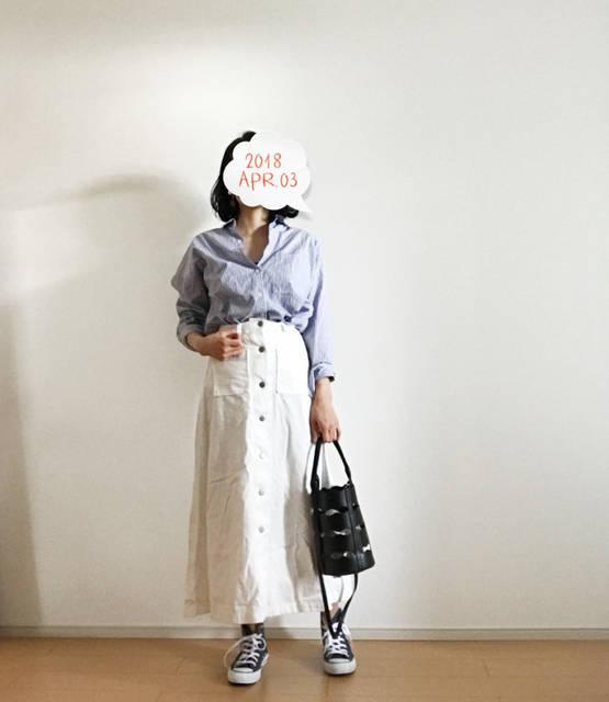 ストライプシャツにホワイトで爽やかコーデ&赤ちゃんUV | 大人シンプル。プチプラコーデブログ。~ゆこのめもがき~ (90511)