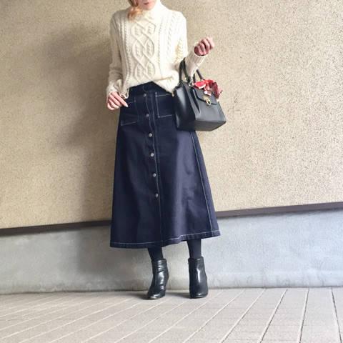 GUの着痩せ春スカート♡ | mayuのシンプルプチプラコーデ-3児ママLIFE- (90515)