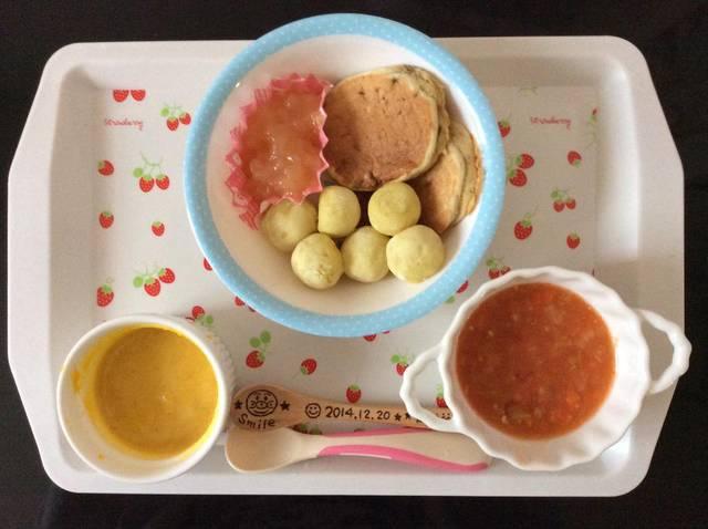 """_ on Twitter: """"10/20 breakfastバナナときな粉のパンケーキさつまいもパンりんごともものジュレ(BF)野菜たっぷりテリーヌ(人参 玉ねぎ キャベツ トマト 粉末寒天)かぼちゃのポタージュ(かぼちゃ 豆乳 無添加コンソメ) https://t.co/2TfzsLR2h2"""" (91570)"""