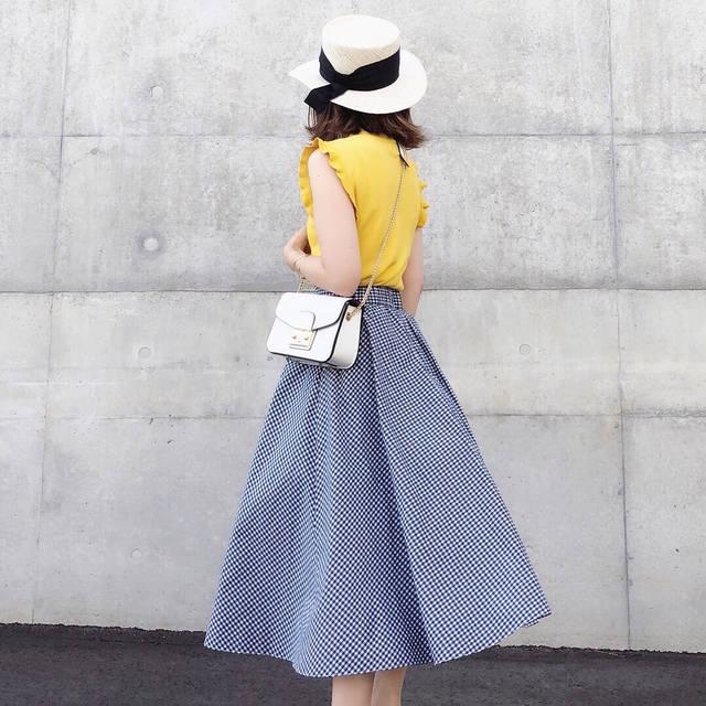 "♡♡♡ on Instagram: ""☆ #coordinate tops @fifth_store →#ショルダーフリルサマーニット skirt @uniqlo @uniqlo_ginza →#サーキュラースカート S (標準丈73〜77cm) bag #fifth #fifthtl…"" (93700)"