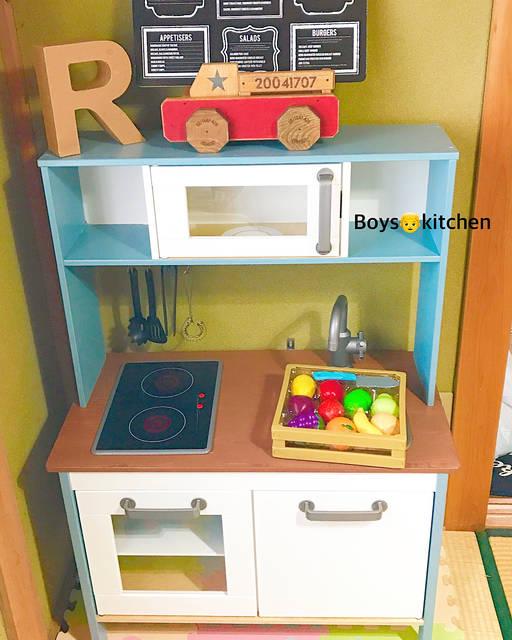 """R❤︎mama on Instagram: """". 息子のkitchenが やっと出来上がりましたー👏 .  色塗りはmama🙋で 組み立てはpapa🙋♂️🎨 . .  組み立てにも色塗りにも 思ったより時間かかったけど 大満足のkitchenになった🙌🌈 . . .  友達のお家でも kitchenでよく遊んだりするから…"""" (95872)"""