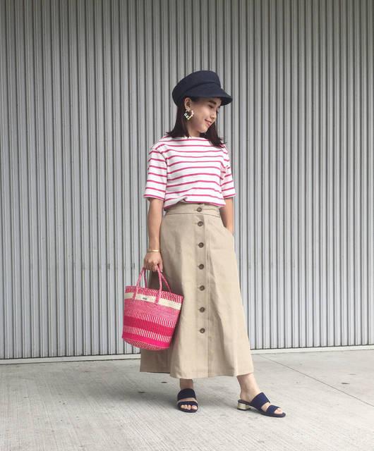 """Sean & Rosa on Instagram: """"♡ Mama's coordinate ♡ ・ こんにちは🌈 ・ GU新作のコーデ✨ #ボーダーボートネックt #ダブルベルトミュール ・ ピンク💖のボーダーTは可愛くて、 今日は店員さんに褒められた!😘 ・ なかなか22.5cm靴のサイズがないけど💧…"""" (97178)"""