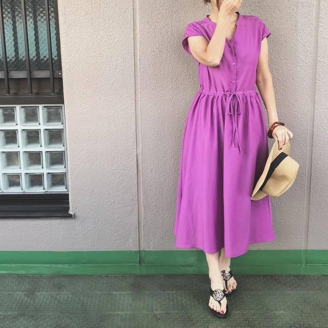 """mimico💋 on Instagram: """". #昨日のコーデ#きのコ 📌 guのパープルのワンピース👗 一目惚れでした💘 同じ色素材のスカートも購入しちゃった😝💗 . one-piece… @gu_global #ウエストリボンワンピース  straw hat… @naturalbeautybasic_official…"""" (97702)"""