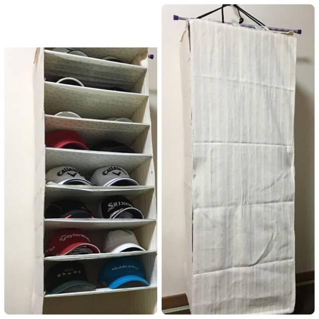 """Mama on Instagram: """"夫のCAP🧢が増えてきたので収納ケース作りました。18個入り。ちょうど良いのが見つからないなら手作り。#アラ還 #アラ還の趣味 #ハンドメイド #収納#帽子収納 当の本人は棚板用の到達。🧢の形は使用していないタオルを詰めてキープ"""" (98188)"""