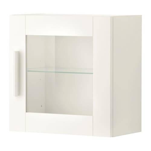 BRIMNES ブリムネス ウォールキャビネット ガラス扉付 - ホワイト  - IKEA (101030)