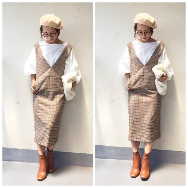 """emi☺︎ on Instagram: """"@gu_for_all_ の秋の新作、 #ガンクラブチェックジャンパードレス 着用させてもらったよー🙌💕 .  今年の秋に注目されてる、ガンクラブチェックがすごくオシャレで、ジャンパースカートの型が綺麗だから、大人っぽく着れてめっちゃ可愛い🤤❤️❤️…"""" (101111)"""